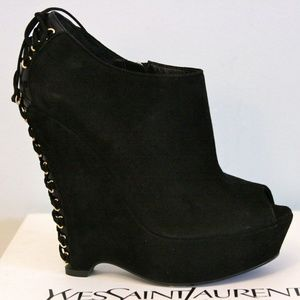 Saint Laurent Madge Black Suede Boots 39